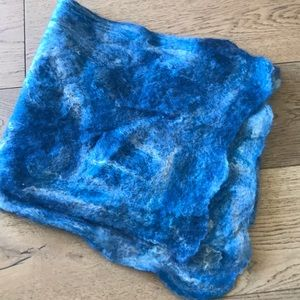 Accessories - Hand felted wool rectangular scarf, blue and white
